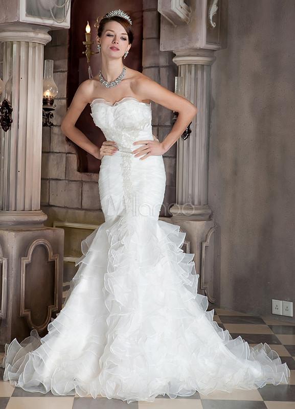 Vestido de novia marfil de organza y de satén estilo trompeta/sirena ...