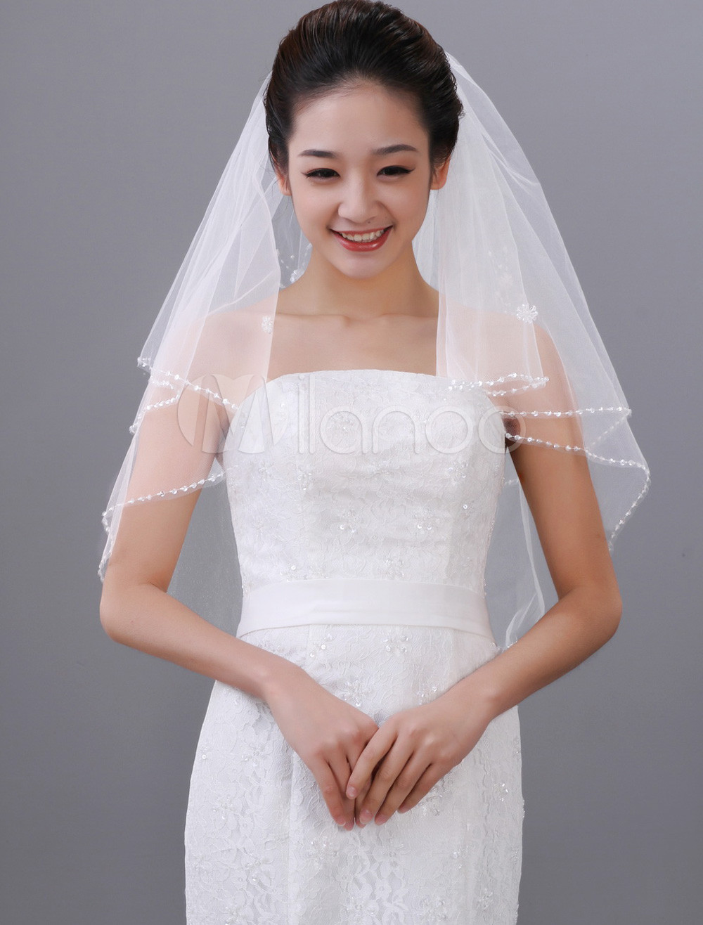 Attractive White Waterfall Two-Tier Beading Tulle Bridal Wedding Veil