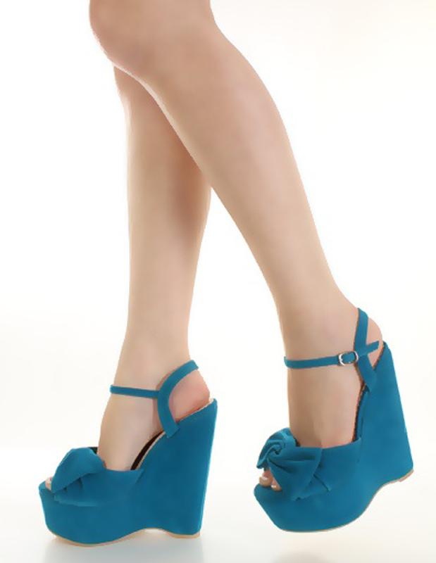 Milanoo / Bow Buckle Nubuck Women's Wedge Sandals
