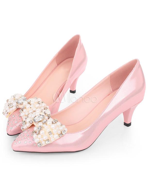 480c757c16fc Señalaron zapatos de tacón bajo de mujer de Toe arco rebordear Rhinestone  cuero