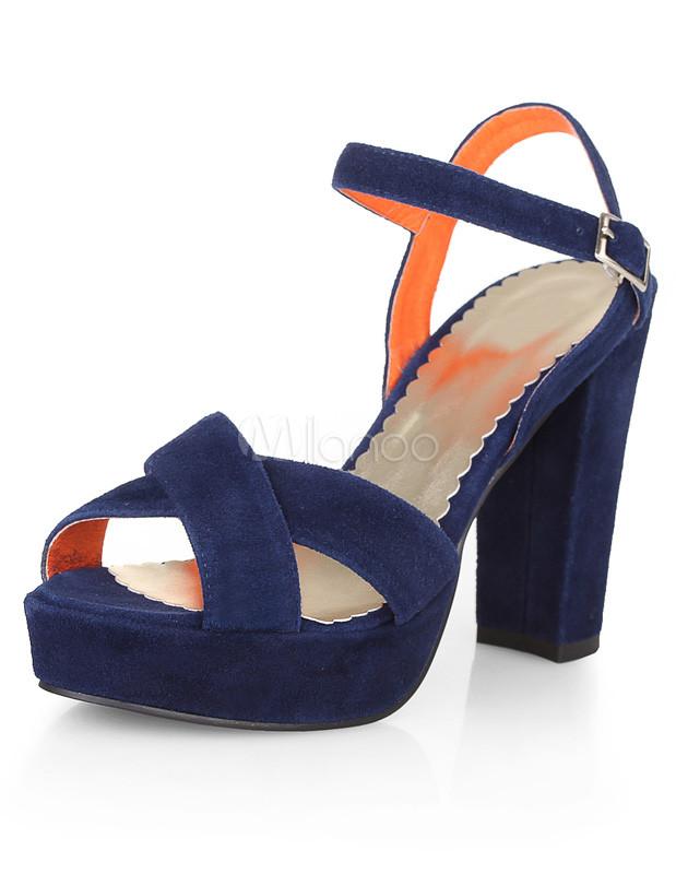 Navy Blue Open Toe Chunky Heel Sheepskin Suede Womens Sandals ...
