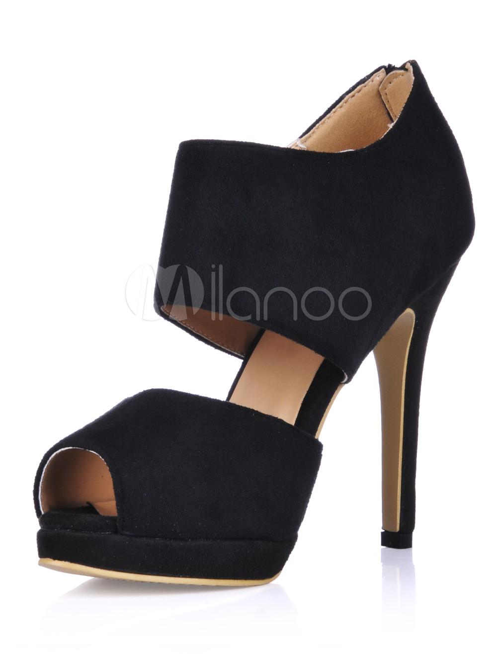 Women Black Sandals 2018 Peep Toe Zip Up High Heel Sandals