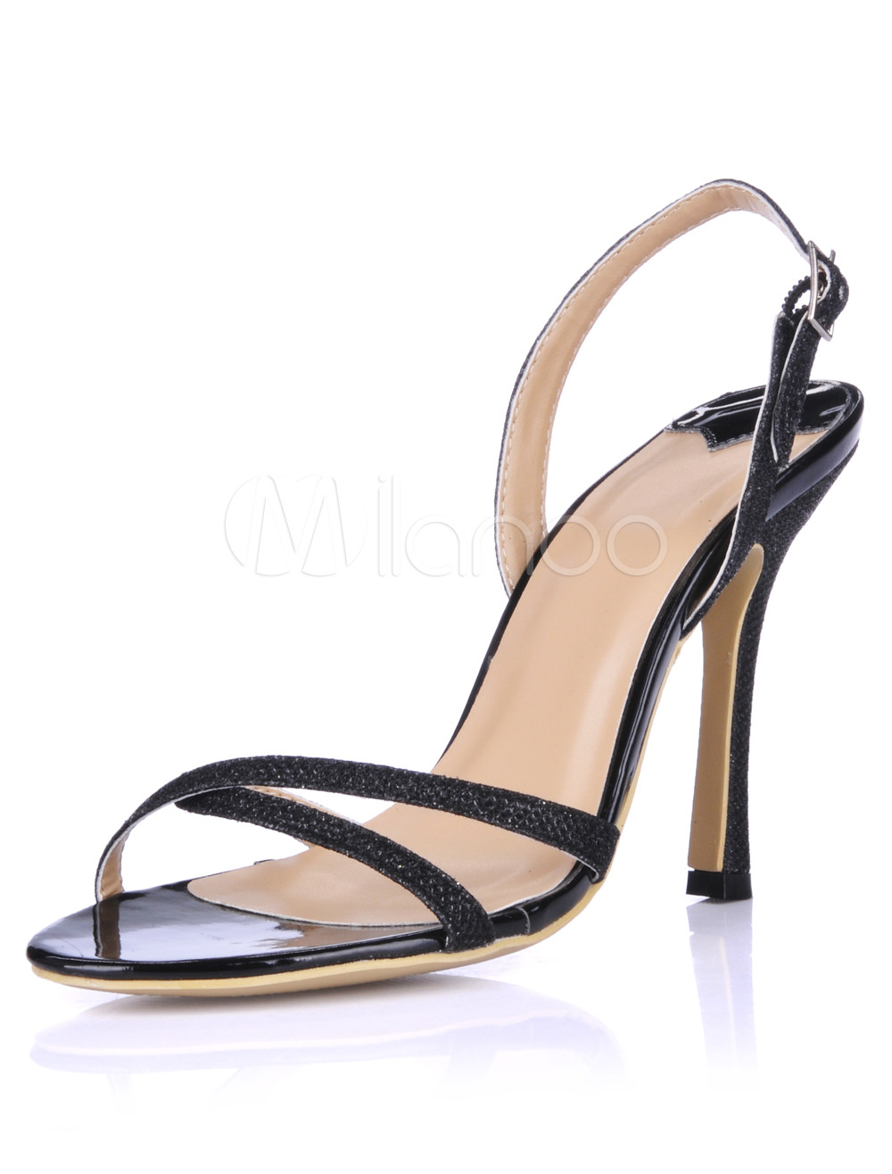 Milanoo / Elegant Sling Back Glazed PU Women's Dress Sandals