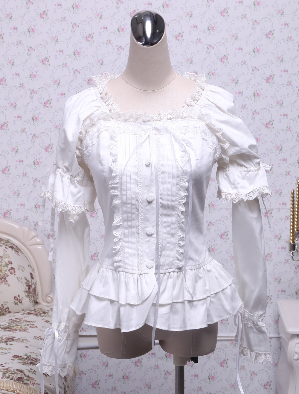 White Cotton Lolita Blouse Long Sleeves Square Neck Lace Trim Layered Ruffles Lace Bow