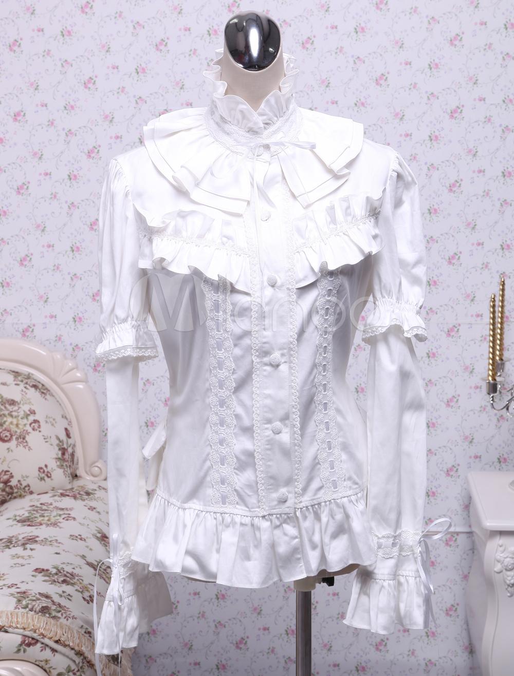 Cotton White Lolita Blouse Long Sleeves Stand Collar Ruffles Waist Belt