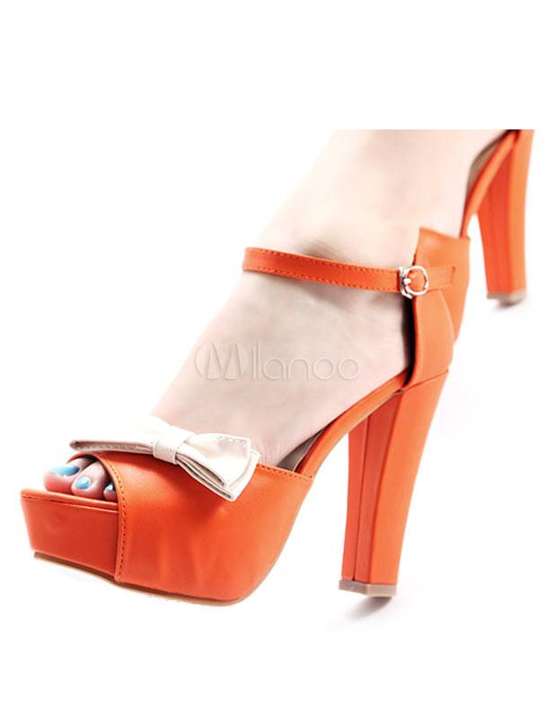 Scarpe Arancioni Sposa.Arancione Pu Leather Bow Decorazione Caviglia Strap Scarpe Da