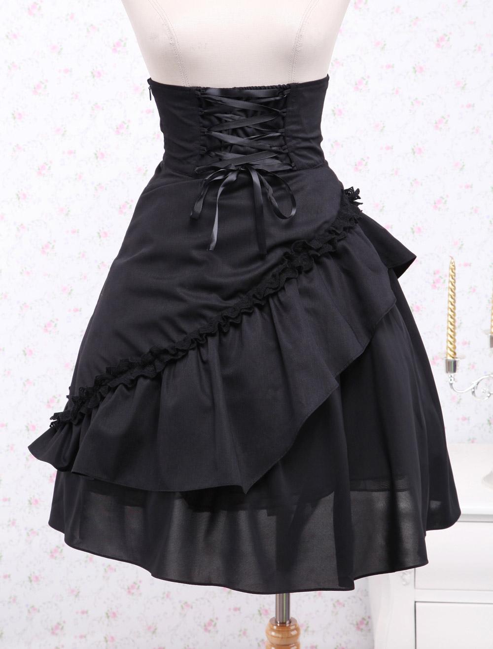 Buy Gothic Lolita Dress SK Black Ruffles High Waist Lace Up Lolita Skirt for $46.39 in Milanoo store