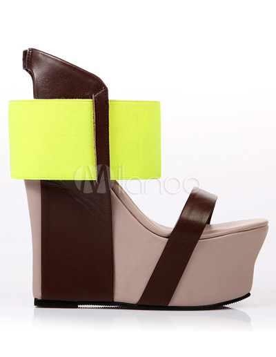 Color Block Ankle Strap Sheepskin Women's Wedge Sandals