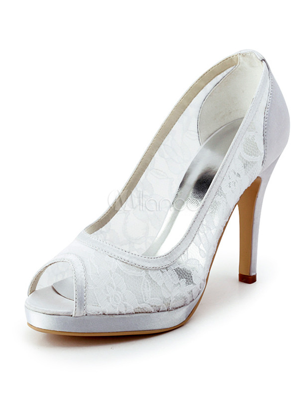 e4cb97528c09 White Peep Toe Clear Satin Lace Bridal Wedding Shoes - Milanoo.com
