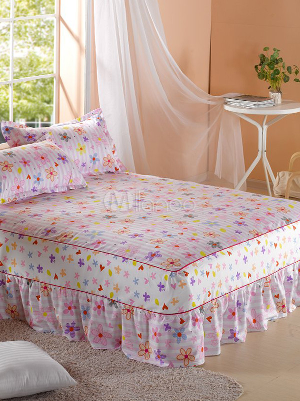 Cute Little Flower Printing Cotton Fitted Sheet With Bed Skirt