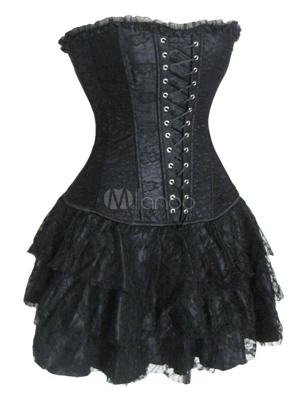 Black Tiered Ruffled Layered Satin Skirt