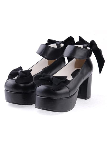 Matte Black Lolita Chunky Heels Shoes Platform Bows Ankle Strap
