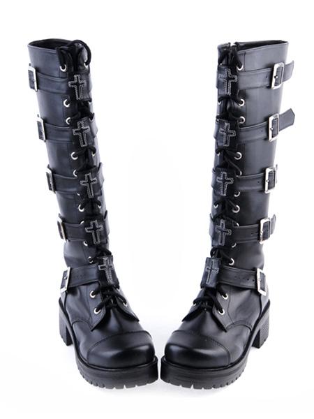Gótico Negro Lolita Botas Tacones Cuadrados Plataforma Encaje Tirantes Hebillas L6UHBIik