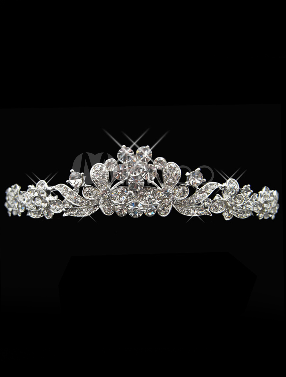 Flowers and Butterfly Silver Rhinestone Metal Bridal Tiara