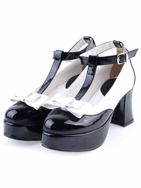Milanoo / Black PU Leather T-strap Bow Lolita Shoes