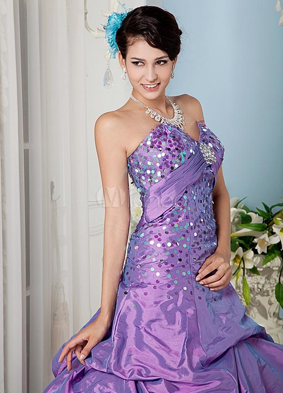 160f2c05b ... Vestidos de fiesta de Prom de tafetán de color lila con escote de  corazón de estilo ...
