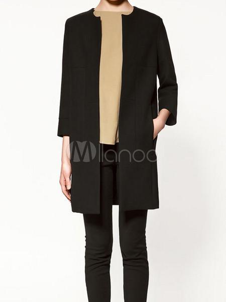 Manteau col rond noir femme