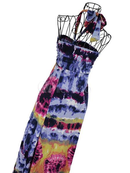 599af18b5a55 Colorato Tie Dye Halter Maxi abito in Jersey - Milanoo.com