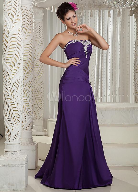 Ajustado Vestido Morado Color El De Escote Suelo Tafetán Hasta Con Corazón Noche qqFSn8xwH