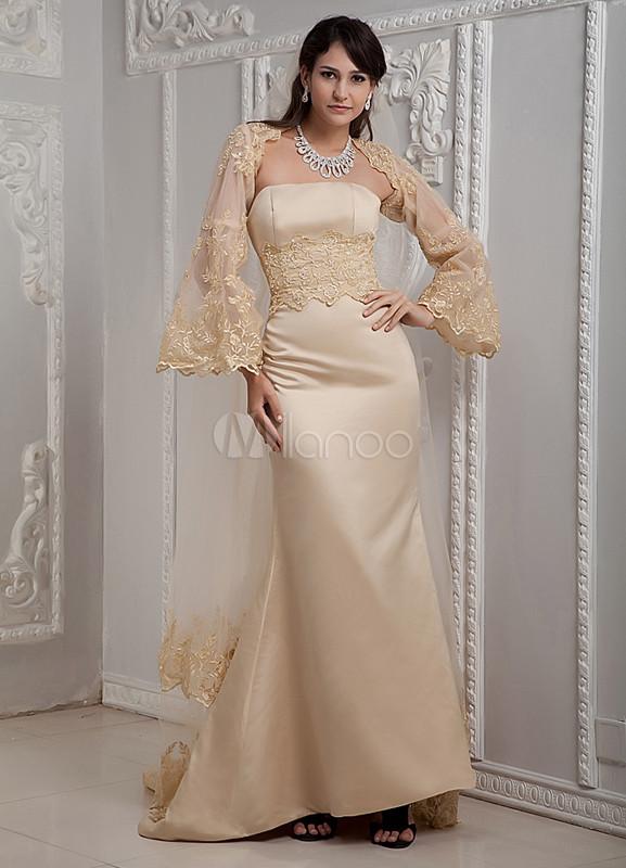 Vestido de novia de color champaña de satén ajustado sin tirantes de ...
