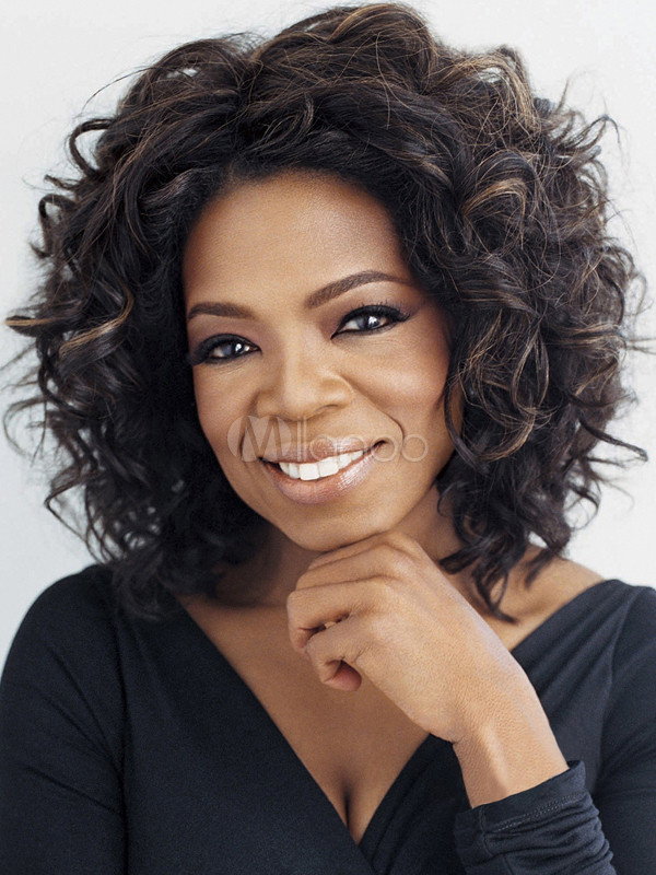 Black Synthetic Medium Curly Oprah Full Wig