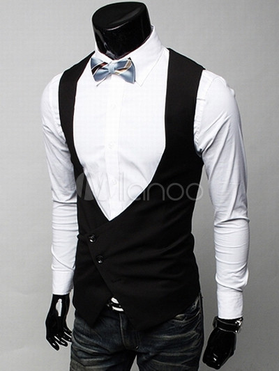 Grace Black Satin Sleeveless V-neck Men's Vest