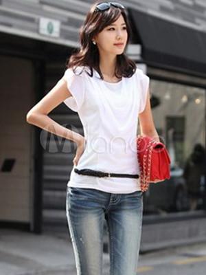 b9cf262db79c8 Blusa de moda blanco algodón manga corta mujer - Milanoo.com