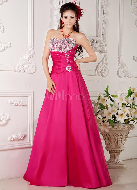 Vestidos de fiesta de Prom de tafetán de color fucsia con escote de ...