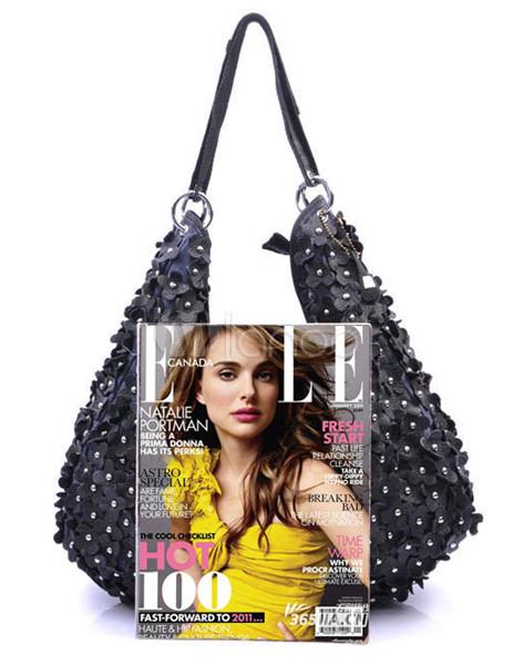 schicke damen handtasche aus echtleder mit blumen applikation und ziernieten. Black Bedroom Furniture Sets. Home Design Ideas