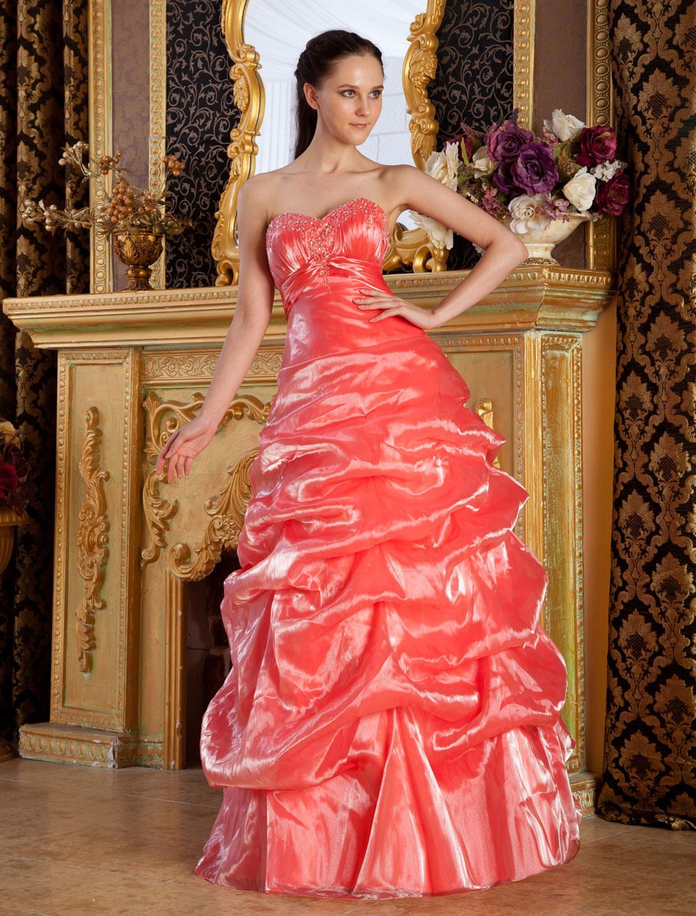 Orange Sweetheart Neck Beading Tulle Prom Dress