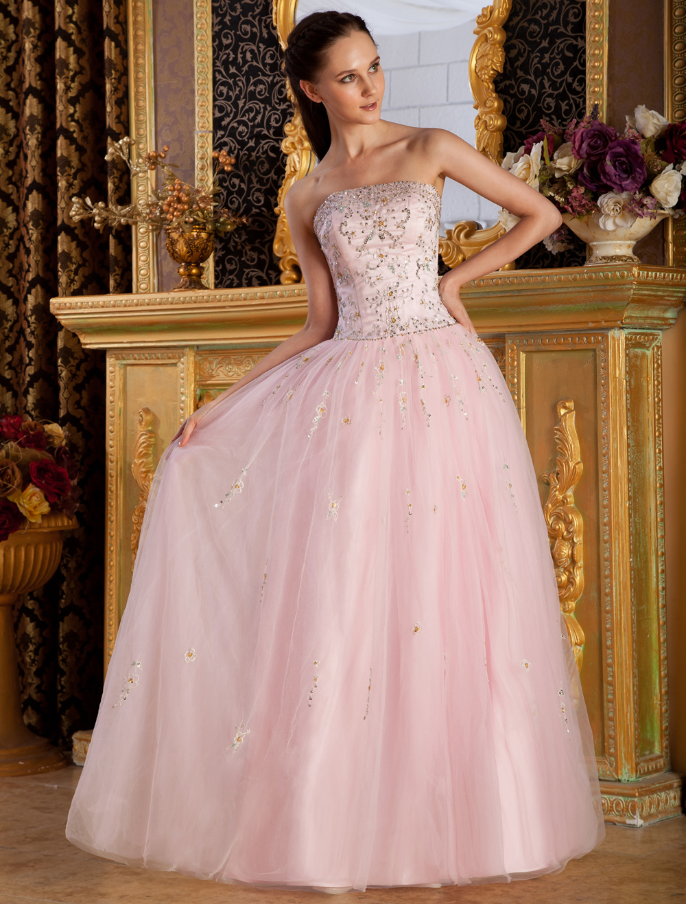 Sweet Strapless Embroidery Net Satin Woman's Prom Dress