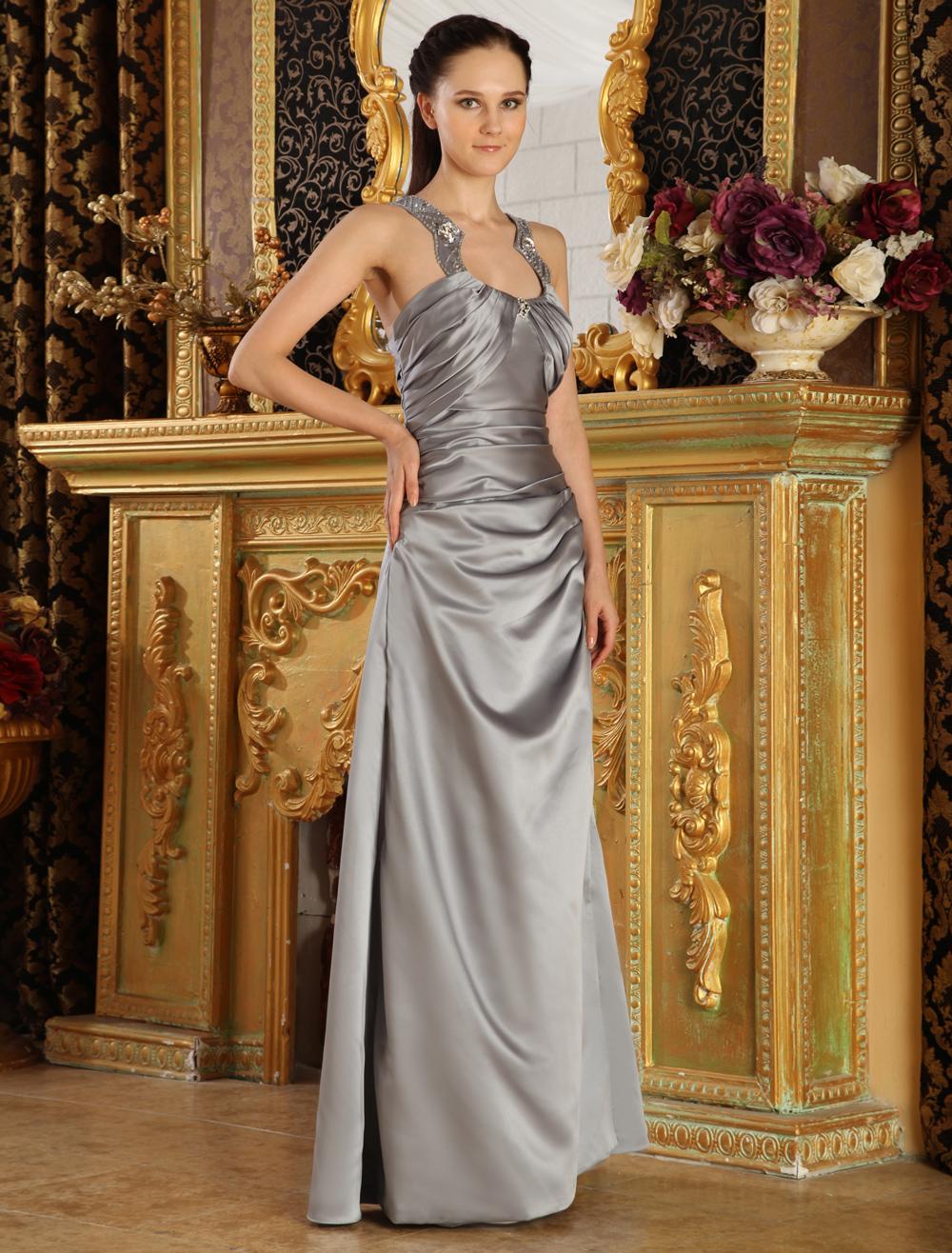 Silver Jewel Neck A-line Beading Satin Evening Dress