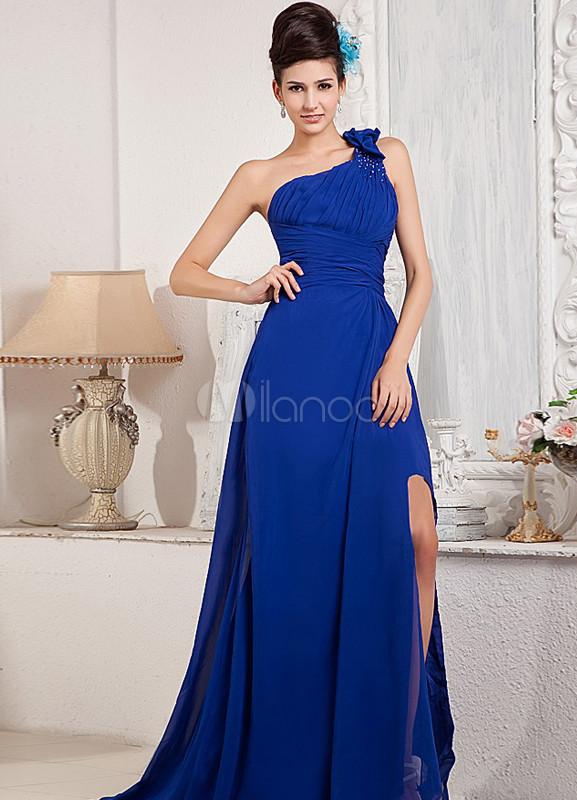 Vestido de noche azul metalico