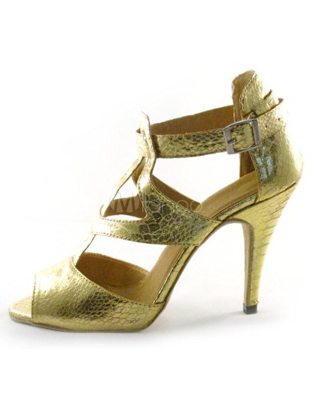 Gold T-Strap Glitter PU Woman's Latin Shoes