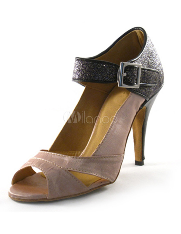 Milanoo / Nude Color Buckle Silk and Satin Latin Shoes