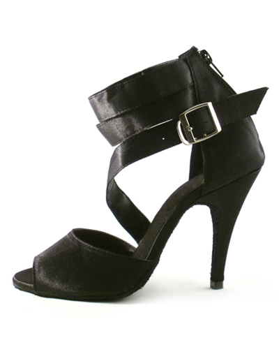 Black Buckle Ankle Strap Silk and Satin Woman's Latin Shoes