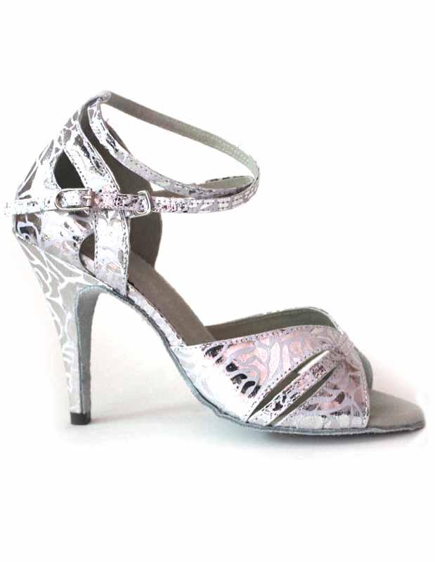 Silver Metallic Ankle Strap PU Latin Dance Shoes