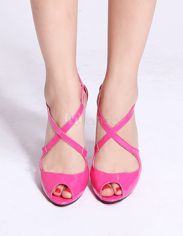 Milanoo / Fuchsia Criss-Cross Peep Toe Patent Leather Woman's Sexy Heels