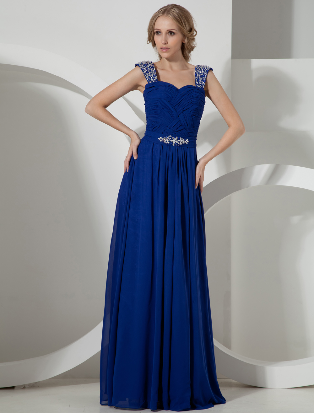 Off-The-Shoulder Chiffon Evening Dress