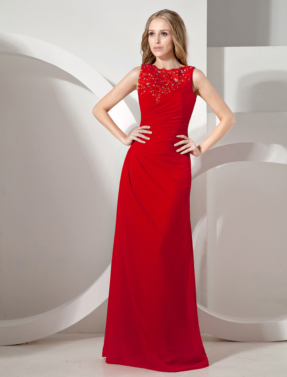 Red Floor-Length Chiffon Women's Evening Dress with Sequins on Embroidery