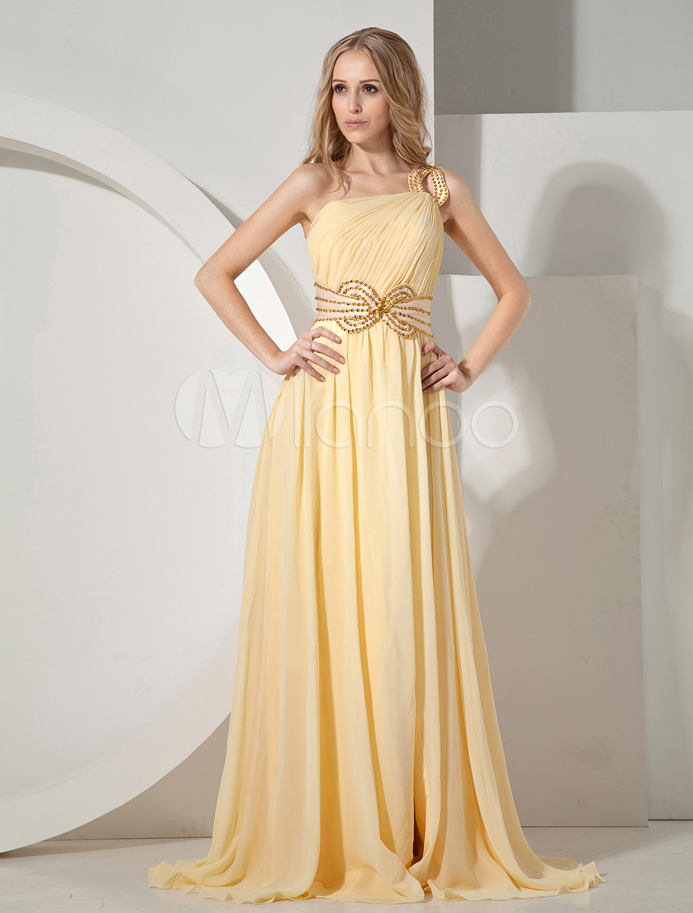 Buy Daffodil Prom Dress Slit A line One Shoulder Chiffon Sash Evening Dress With Sweep Train for $149.99 in Milanoo store