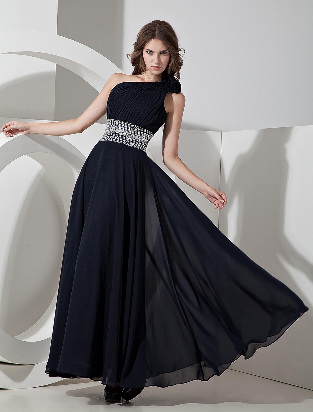 Dark Navy Blue Chiffon One Shoulder Prom Dress Wedding Guest Dress