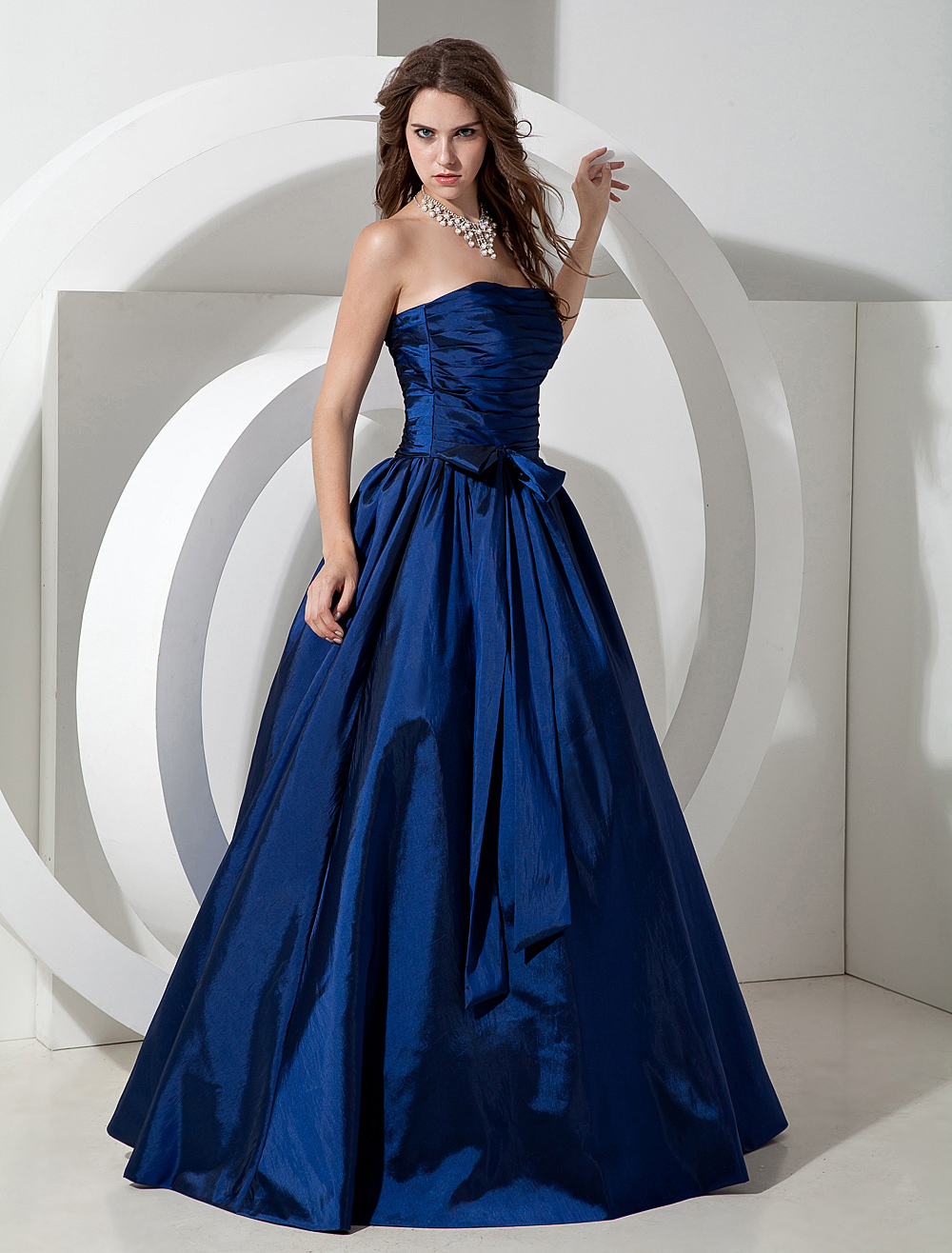 Pretty Floor-Length Royal Blue Bridesmaid Dress with Strapless A-Line Pleated Taffeta