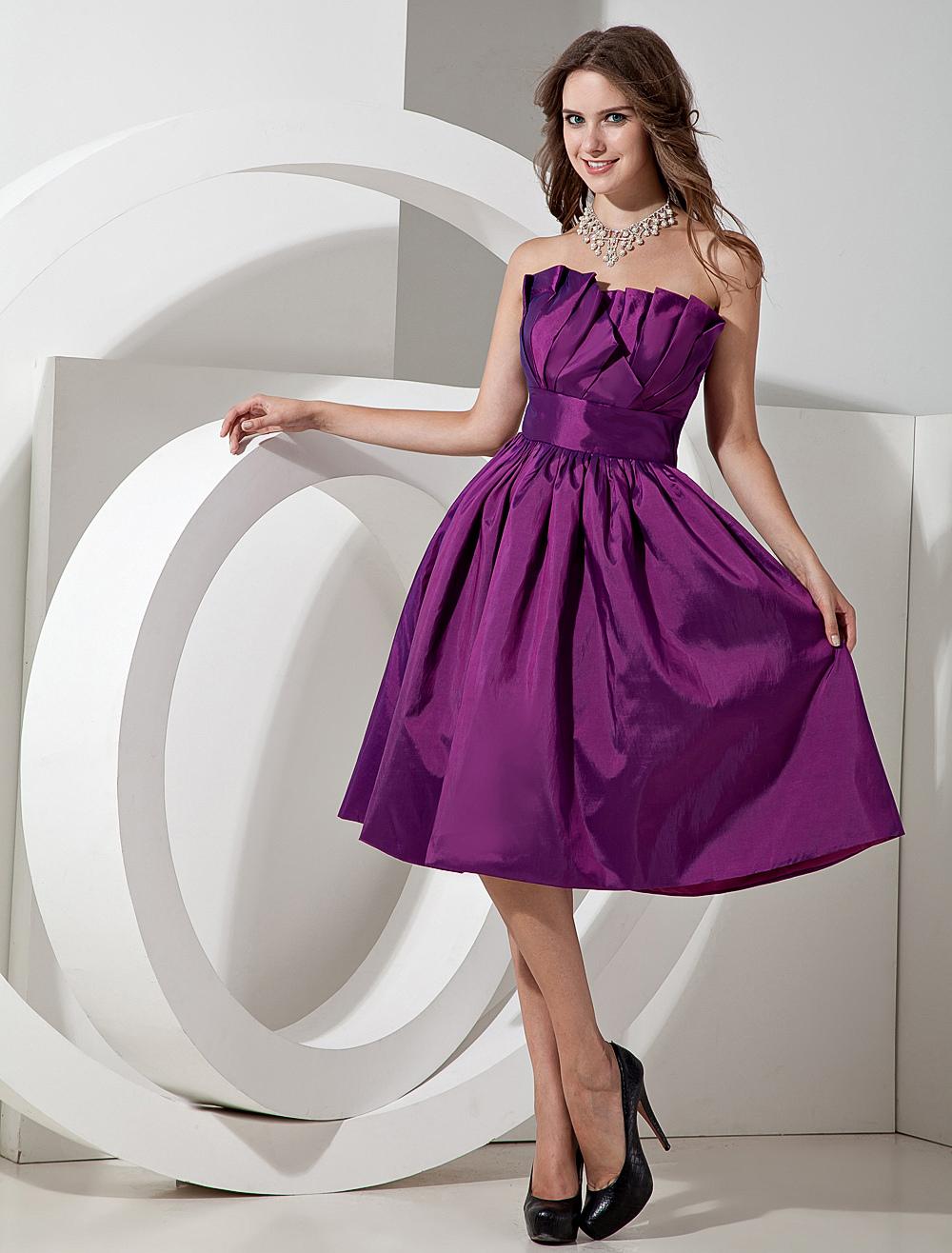 Short Bridesmaid Dress Magenta Taffeta Knee Length Strapless A line ...