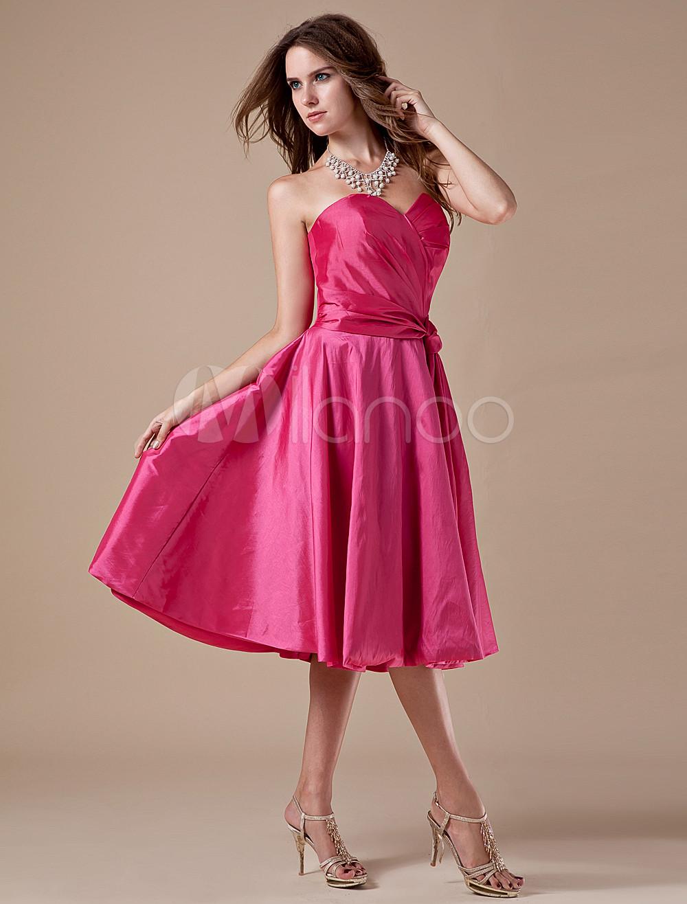 Vestido damas de color rojo de rosa de tafetán de línea A sin ...