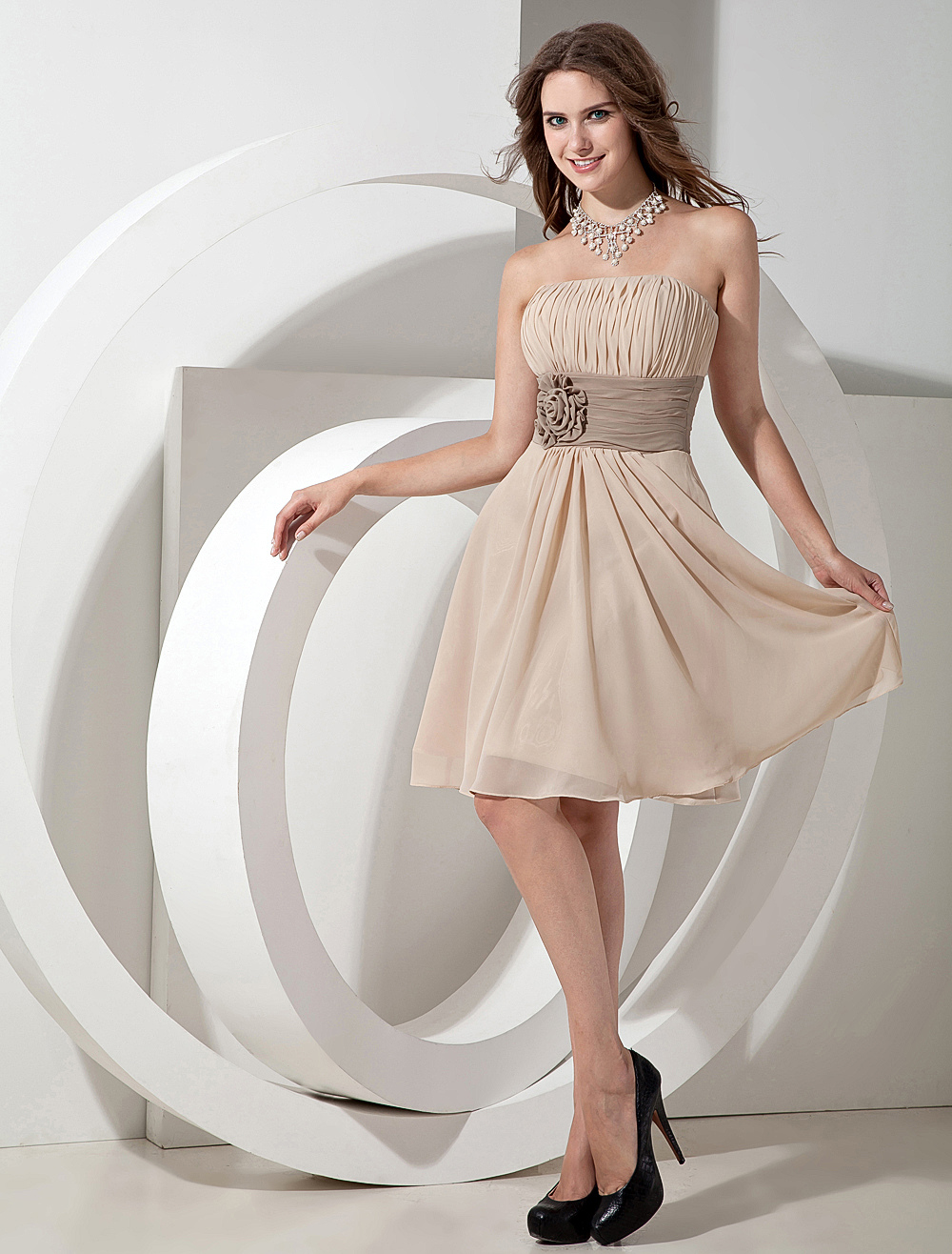 Chiffon Strapless Knee Length Bridesmaid Dress With Flowers