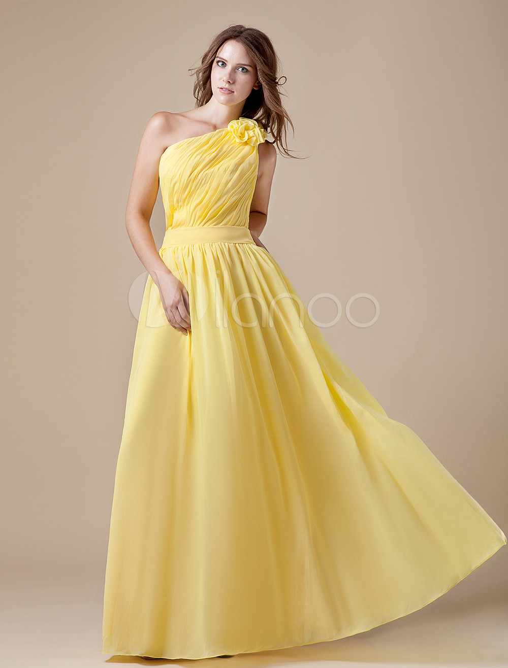 One-Shoulder Floor-Length Bridesmaid Dress with Cascading Ruffle