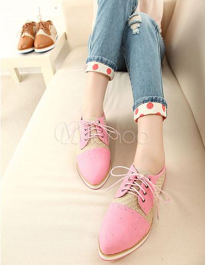 De Zapatos Bloqueo Dulce Rosa Pu Oxford Cuero Color Encaje Hasta Fw6qpa6H