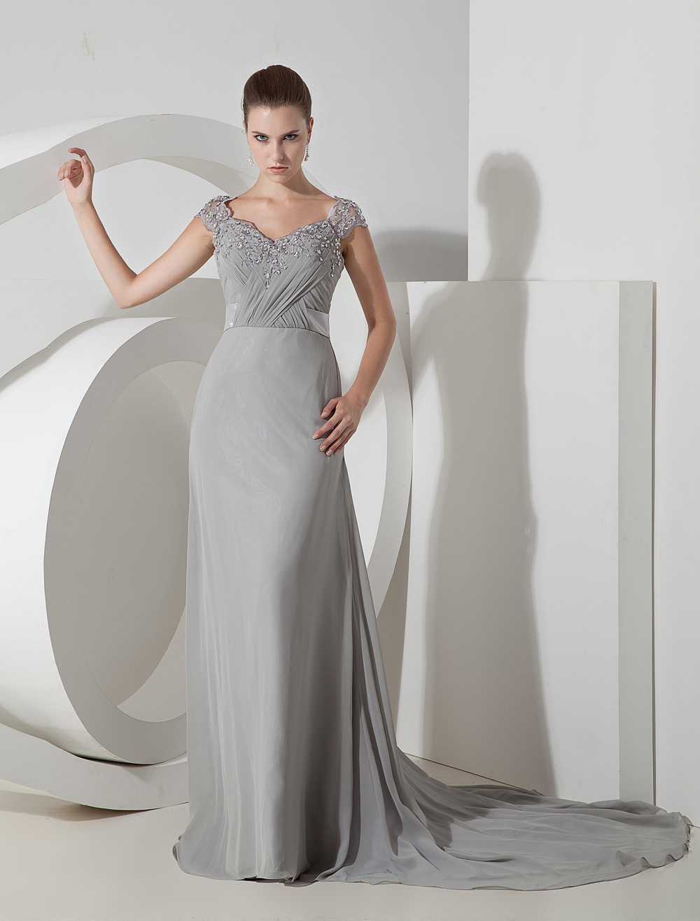 Silver Chiffon Applique Floor Length Evening Dress