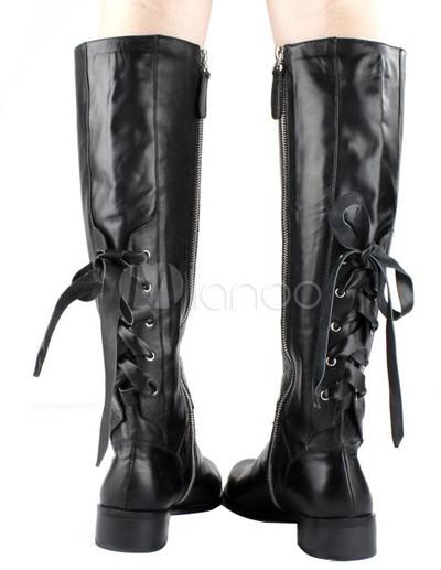 ... Bottes sexy en cuir de vache lacets arrière zip latéral-No.3 ...